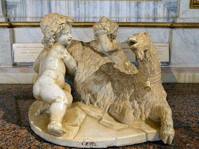 La ninfa Amaltea e la capra che ha nutrito Zeus