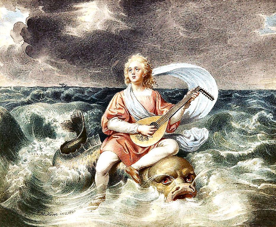 Arione di Metimna, il mitologico cantore salvato da un delfino